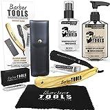 Kit de afeitado - Navaja de afeitar recta con cuchillas...